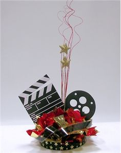 Hollywood Theme Centerpieces   Movie Night Centerpiece