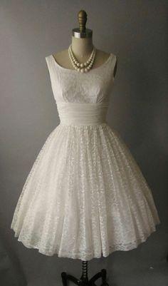 vintage 50's lace chiffon tea length wedding dress...