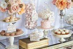 Style My Celebration: Inspiration - Romantic Wedding Lolly Buffet dessert tables, cake, candy buffet, candy stations, dessert buffet, candi, vintage candy, dessert bars, parti