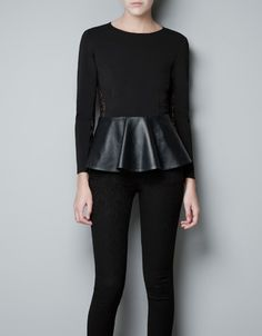STUDIO TOP WITH LEATHER FRILL - Woman - New this week - ZARA United States