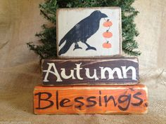 Primitive Crow with Pumpkins Autumn Blessings Shelf Sitter Wood Block Set  #PrimitiveCrow