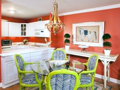 Orange Dining Room and Kitchen With White Cabinetry : Designers' Portfolio : HGTV - Home & Garden Television