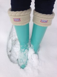 Bright blue Hunter boots
