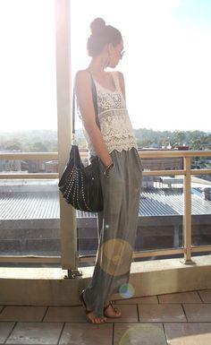 grey maxi skirt & lace tank top
