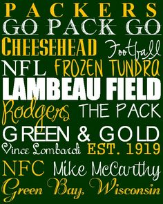 That about covers it!!!!  GO PACK GO!!!