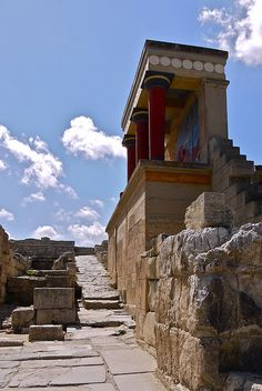 Knossos   An archaeological site at Heraklion, a modern port city on the north central coast of Crete.