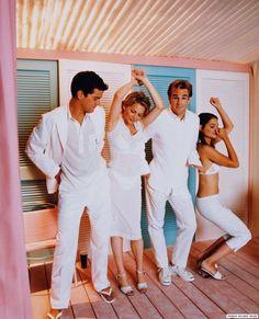 The Dawson's Creek cast - Joshua Jackson (Pacey), Michelle Williams (Jen), James Van Der Beek (Dawson), and Katie Holmes (Joey)