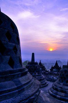 Sunrise at Borobudur, Java, Indonesia