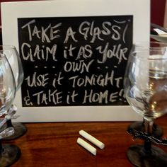 Wine glasses spray painted with chalk board paint. Personalize with chalk and your on your way.
