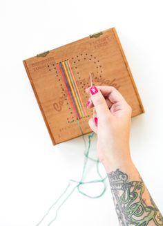 DIY Embroidered Cigar Box Sewing Box