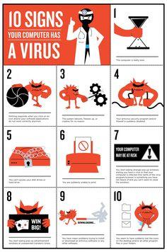 10 Signs your Computer has a Virus #Infographic #infografía