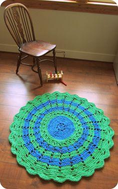 Green and blue striped retro Scandinavian style chunky cotton crochet doily rug £47.50