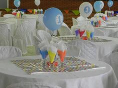 Decoração das mesas. Festa de 1 ano Monstrinho.