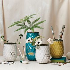 I love these honeycomb vases from West Elm $24+