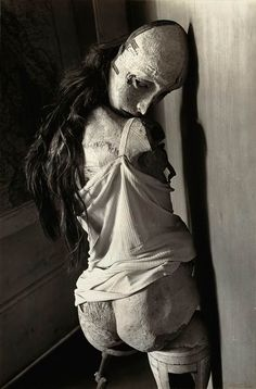Hans Bellmer, best known for his assemblage pre-pubescent life sized dolls and surrealist photography offers grotesque yet beautiful imagery that leaves the viewer fascinated and disturbed at the same time.    Bellmer's work is said to have been inspired from meeting his pre-pubescent cousin, who was a good deal younger than he.     Bellmer's work deals with female beauty and sexualization.