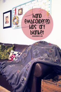 Sugar and Dots: Hand embroidered kids art blanket.