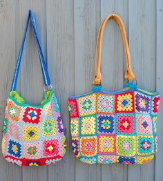 Crochet granny square bags! For mom and daughter.