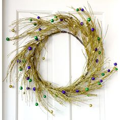 Mardi Gras Pine Ball Wreath with matching garland