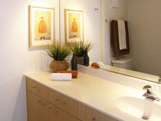 Removing styling products and adding plants can transform your bathroom into a home staging success story. #homestaging