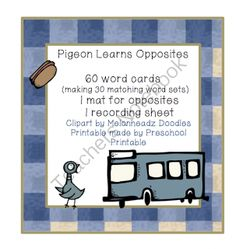 Preschool Printables: Pigeon Learns Opposites Printable