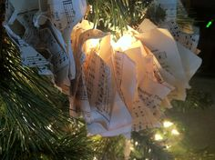 Christmas Tree Garland, String hymnal music  onto twine and scrunch by Jane Gianarelli
