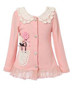 Loving this Light Pink Lace Flower Cardigan - Toddler & Girls on #zulily! #zulilyfinds