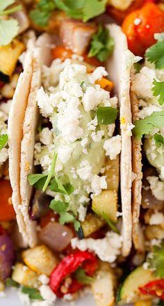 Roasted Vegetable Tacos with Avocado Cream & Feta.