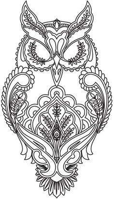 Full Moon Owl designfabric design for hand-stitching