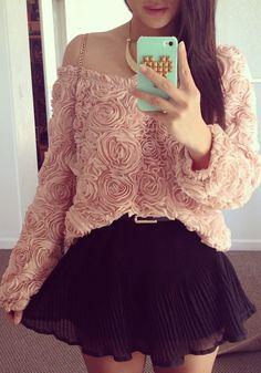 3D Rose Top - Baby Pink @LookBookStore