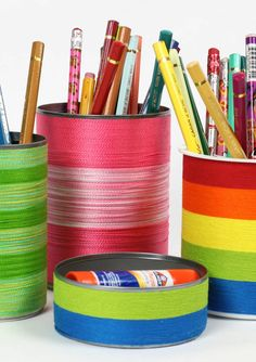 Decorate your desk for the first day of school with this easy DIY Rainbow Wrap Desk Set craft