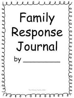 The Primary Techie: Family Response Journals with a FREEBIE
