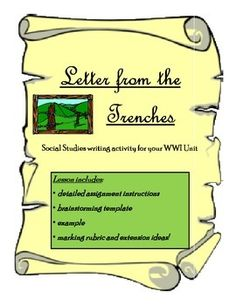 FREE - WWI Letter From the Trenches - Writing activity for Social Studies! Everything is included!