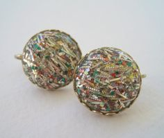 Vintage Late 50s Mid Century Retro Sarah Coventry Confetti Lucite Domed Cabochon Earrings by ThePaisleyUnicorn, $12.00