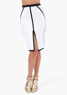 Chic Lined Pencil Skirt
