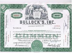 Stock certificates redeemed for Federated Department Stores hostile acquisition of Bullock's, Inc in 1964. Chairman P.G. Winnett, who had run the company since John Bullock's death in 1933 opposed it: his son-in-law and President Walter Candy pushed for the sale.