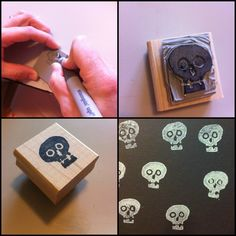 Handcarved Skull stamp using the Undefined carving kit from Stampin' Up!