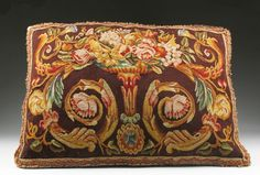 French Aubusson Needlepoint Tapestry Pillow - Found on Ruby Lane