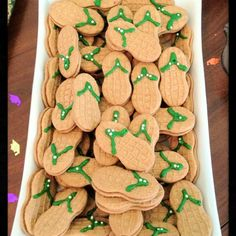 Sandal cookies made from NutterButters and frosting