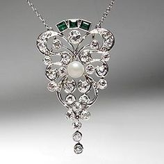 1920's Antique Art Deco Lavalier Pendant Necklace Pearl Diamond & Emerald Solid Platinum