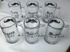 Gift for Groomsmen beer mugs, 5 Chalkboard mustache mugs personalized with name and wedding date
