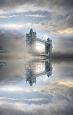 Tower Bridge during foggy morning, London, UK