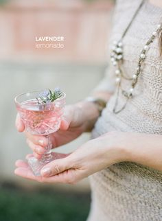 Lavender Lemonade  Read more - http://www.stylemepretty.com/living/2013/11/06/lavender-lemonade/
