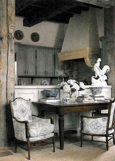 cabinets, color, rustic kitchens, upholstered chairs, grey, rooster, hood, french country kitchens, french kitchens
