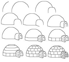 How to draw an igloo kids winter drawings, art idea, drawing tutorials for kids, easy drawings for kids, art drawings, cartooning for kids, cartoon igloo, step by step drawings for kids, drawing tutorial for kids