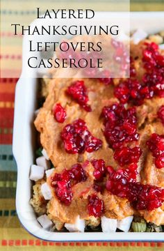 Layered Thanksgiving Leftovers Casserole Recipe {30  Healthy Thanksgiving Leftover Recipes} © Jeanette's Healthy Living