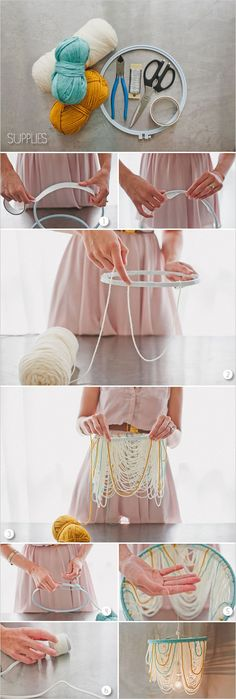 diy chandelier. Do this w dollar store string of pearls or beads for a christmas tree. Paint different strands for  colour!