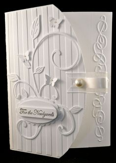 Stampin Up Embossed Greeting Card Kit Whisper White Wedding and More options - like the curved edge on the striped embossing folder