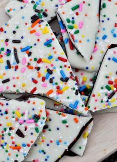 Cake batter chocolate bark for those  sprinkle lovers.