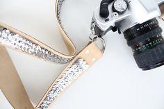 DIY ::: NO sewing.  Seriously chic sequin camera strap ~Sugar and Cloth