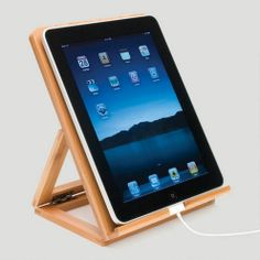 For the techi. Bamboo iPad Stand at Cost Plus World Market  -------  Natural aesthetic meets techno-savvy practicality (for iPad, tablet or e-reader)  #WorldMarket #Gifts for him, #Father's Day #iPad #tablet #dad #essential #gift #dad